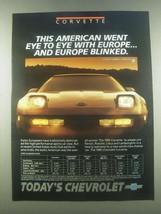 1985 Chevrolet Corvette Ad - Eye to Eye With Europe - $14.99