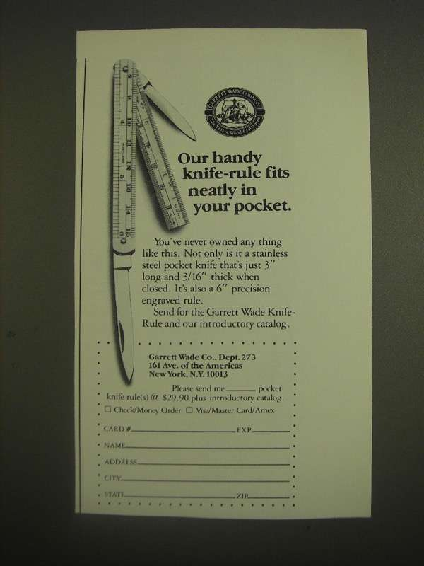 1985 Garrett Wade Knife-Rule Ad - Handy Knife-Rule Fits Neatly in Your Pocket - $14.99