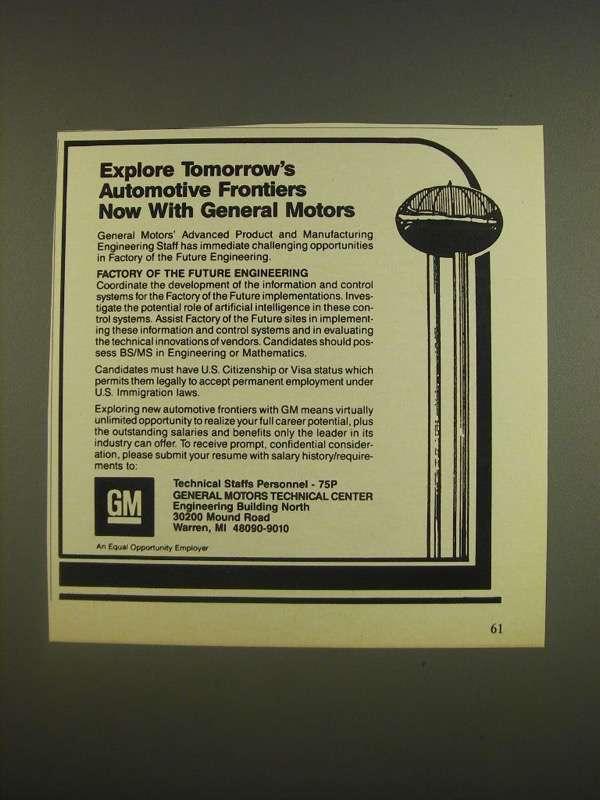 1985 GM General Motors Ad - Explore tomorrow's automotive frontiers now - $14.99