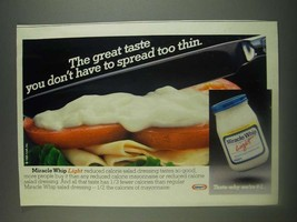1985 Kraft Miracle Whip Light Ad - great taste you don't have to spread too thin - $14.99