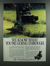 1986 John Deere Commercial Mower Ad - We Know What You're Going Through - $14.99