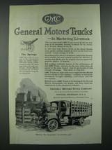 1919 GMC General Motors Trucks Ad - Marketing Livestock - $14.99
