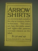 1915 Arrow Shirts Ad - Suitable for City or Country - $14.99