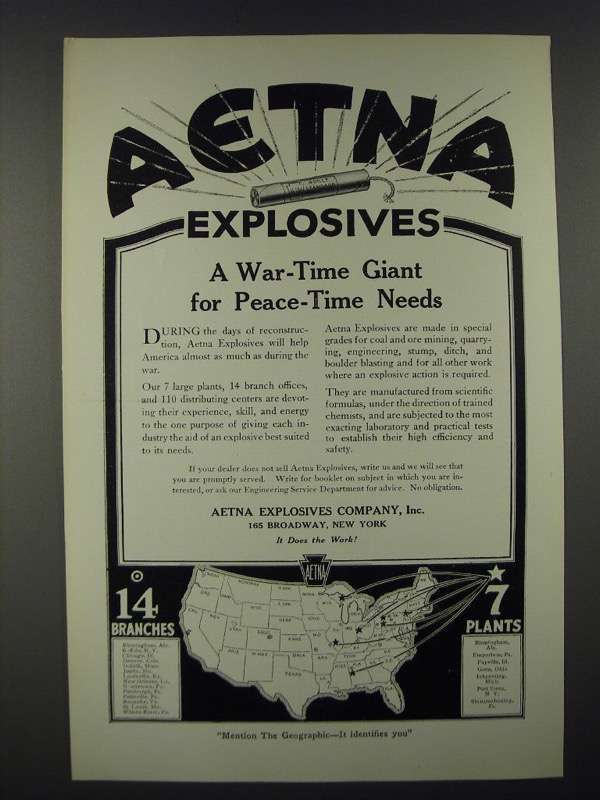 1919 Aetna Explosives Ad - A War-Time Giant for Peace-Time Needs - $14.99