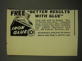 1939 McCormick's Iron Glue Ad - Better Results With Glue - $14.99