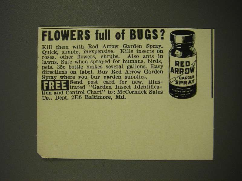Primary image for 1942 McCormick Red Arrow Garden Spray Ad - Flowers Full of Bugs?