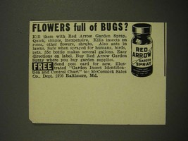 1942 McCormick Red Arrow Garden Spray Ad - Flowers Full of Bugs? - $14.99