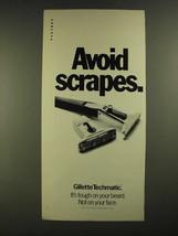 1972 Gillette Techmatic Razor Ad - Avoid Scrapes - $14.99