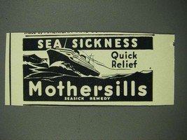 1938 Mothersills Seasick Remedy Ad - Sea Sickness Quick Relief - $14.99