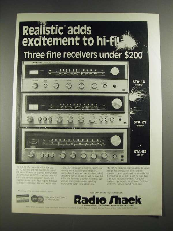 1977 Radio Shack STA-16, STA-21 and STA-52 and similar items
