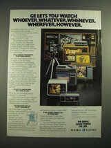 1982 General Electric Home Video Systems Ad - Watch Whoever, Whatever - $14.99