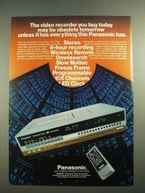 1982 Panasonic Omnivision PV-1780 Video Cassette Recorder Ad - $14.99