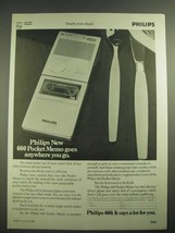 1982 Philips 660 Pocket Memo Ad - Goes Anywhere You Go - $14.99