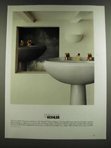 1986 Kohler Thunder Grey and Tender Grey Pedestal Sinks Ad - $14.99