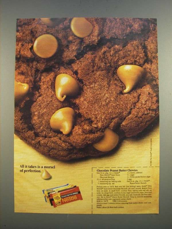 Primary image for 1986 Nestle Peanut Butter Morsels Ad - Chocolate Peanut Butter Chewies recipe