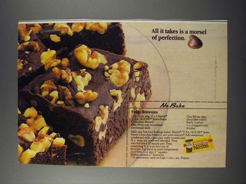 Primary image for 1986 Nestle Semi-Sweet Chocolate Morsels Ad - No Bake Fudge Brownies recipe