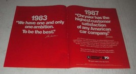 1987 Chrysler Motors Ad - We Have One and Only One Ambition - $14.99