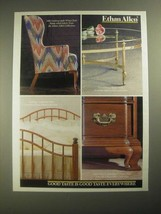 1987 Ethan Allan Furniture Ad - Wing Chair, Brass Table, Country Craftsman Bed - $14.99