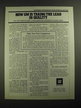 1987 GM General Motors Ad - Taking The Lead in Quality - $14.99