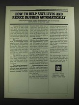 1987 GM General Motors Ad - Help Save Lives and Reduce Injuries - $14.99