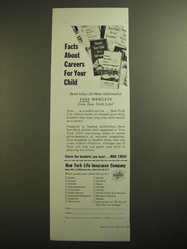 Primary image for 1955 New York Life Insurance Ad - Facts About Careers For Your Child