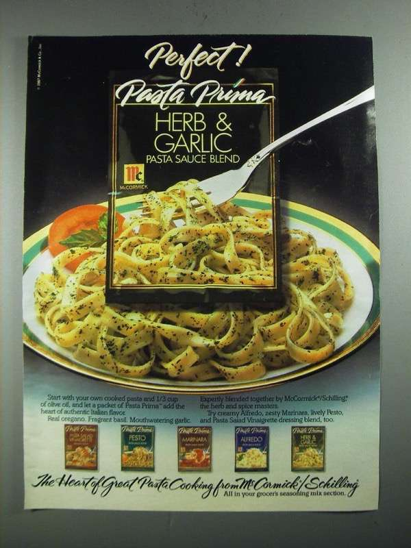 Primary image for 1987 McCormick/Schilling Pasta Prima Herb & Garlic Pasta Sauce Blend Ad