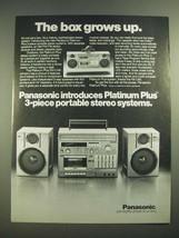 1982 Panasonic Platinum Plus RX-C100 Stereo Ad - $14.99