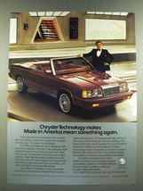 1986 Chrysler LeBaron Convertible Ad - Made in America Mean Something Again - $14.99