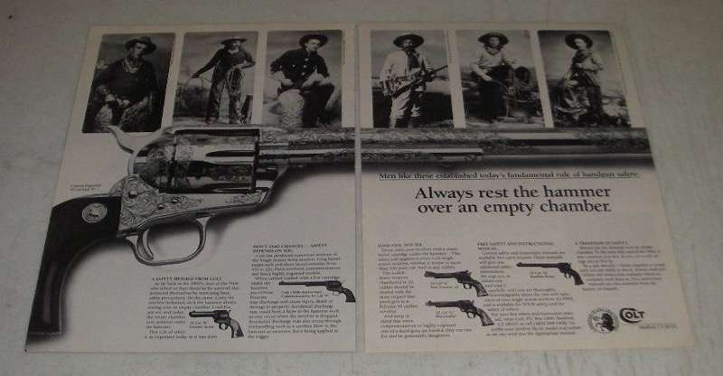 1986 Colt Custom Engraved 45 Cal SAA P Revolver Ad - Rest Over an Empty Chamber - $14.99