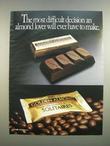 1986 Hershey's Golden Almond Chocolate Bar and Solitaires Ad - $14.99
