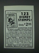 1986 Kenmore Walt Disney Stamps Ad 123 Disney Stamps - $14.99