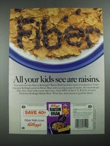 1987 Kellogg's Raisin Bran Cereal Ad - All Your Kids See Are Raisins - $14.99