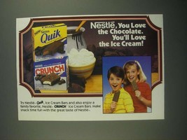 1987 Nestle Quik and Nestle Crunch Ice Cream Bars Ad - Love the Chocolate - $14.99