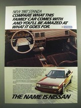 1987 Nissan Stanza Ad - Compare What This Family Car Comes With - $14.99