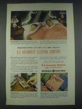 1947 General Electric Automatic Blanket Ad - Undisturbed Slumber - $14.99