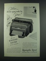 1949 Remington Rand Electric De Luxe Typewriter Ad - Works for You! - $14.99