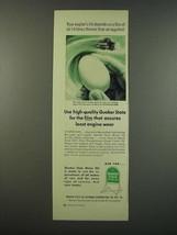 1954 Quaker State Motor Oil Ad - Film of Oil Thinner than an Eggshell - $14.99