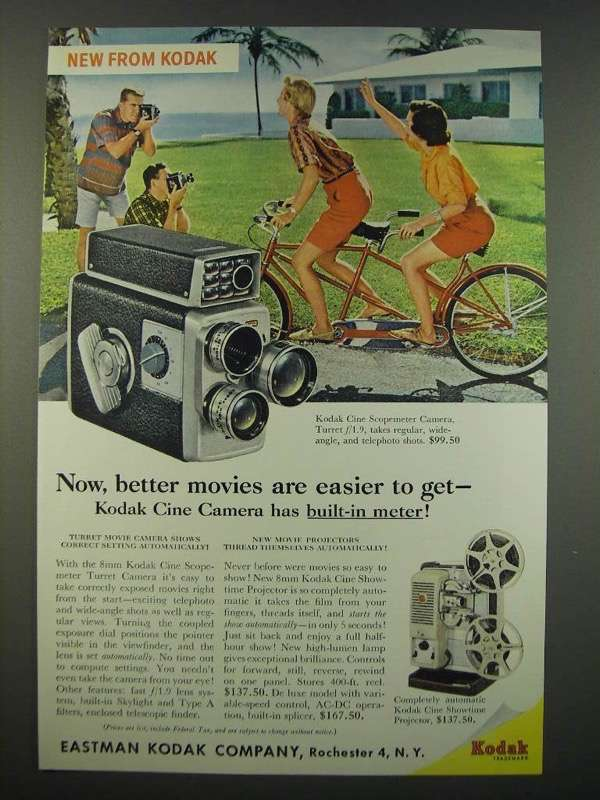 1959 Kodak Cine Scopemeter Camera and Cine Showtime Projector Ad - $14.99