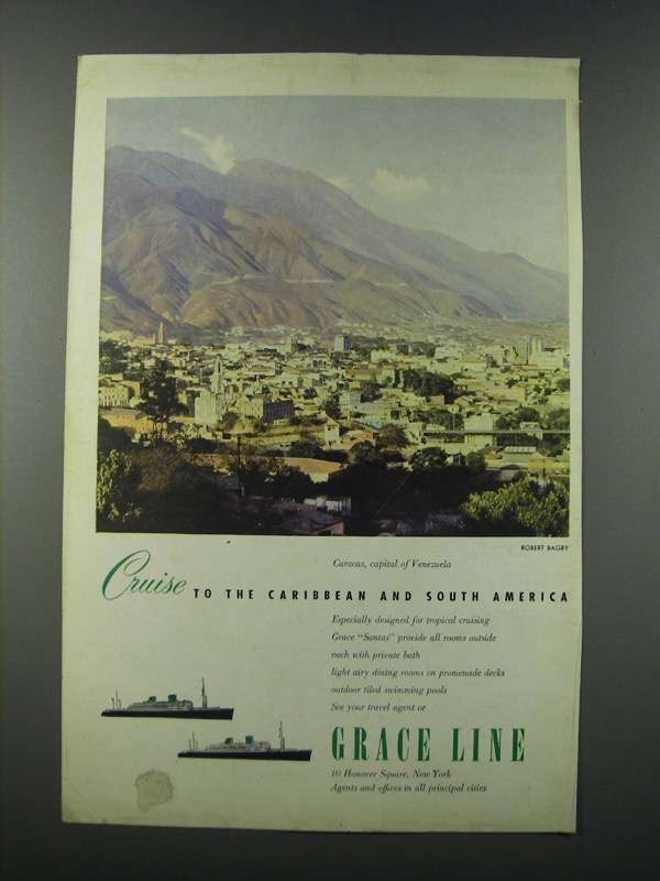 Primary image for 1949 Grace Line Cruise Ad - Cruise to the Caribbean and South America