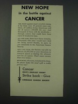1954 American Cancer Society Ad - New Hope in The Battle Against Cancer - $14.99