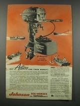 1954 Johnson Sea-Horse 10 Outboard Motor and Mile-Master Fuel Tank Ad - $14.99