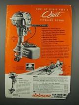 1954 Johnson Sea-Horse 5 1/2 Outboard Motor and Mile-Master Fuel Tank Ad - $14.99