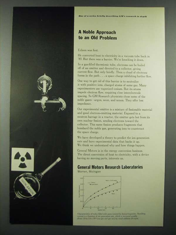 1966 GM General Motors Research Laboratories Ad - A Noble Approach - $14.99
