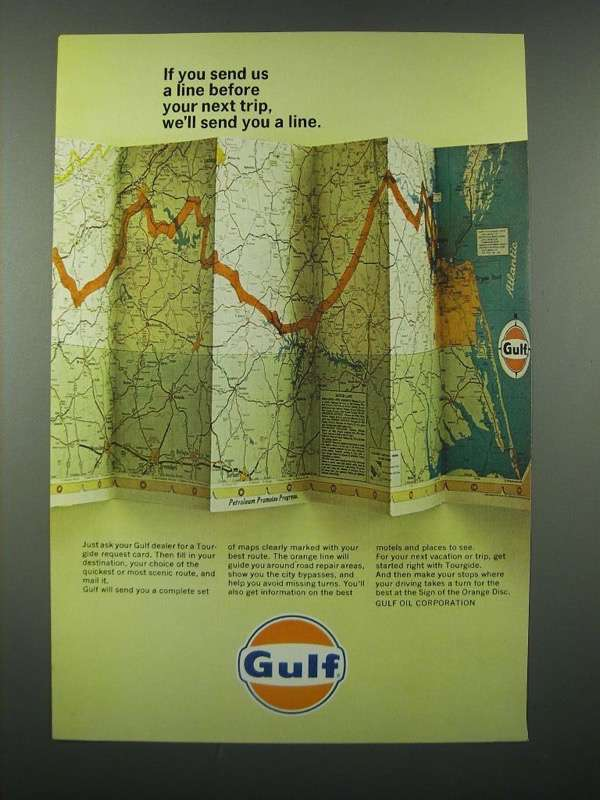 1966 Gulf Oil Ad - We'll Send You a Line