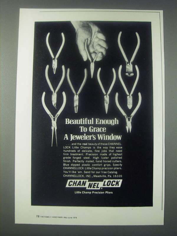 Primary image for 1978 Channellock Little Champ Precision Pliers Ad - Grace a Jeweler's Window