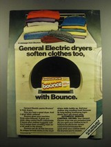 1983 Bounce Dryer Sheets Ad - General Electric Dryers Soften - $14.99