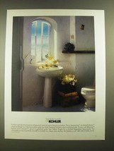 1988 Kohler Serpentine Pedestal Lavatory and Matching Toilet Ad - $14.99