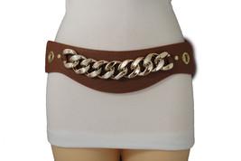 Women Brown Stretch Fashion Belt Hip High Waist Gold Chain Link Faux Lea... - $15.67