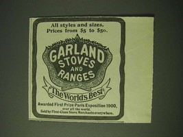 1900 Garland Stoves and Ranges Ad - All styles and sizes - $14.99