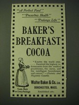 1900 Walter Baker & Co.'s Baker's Breakfast Cocoa Ad - A Perfect Food Pr... - $14.99